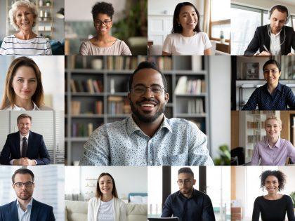 Webinar image - collage of people talking online