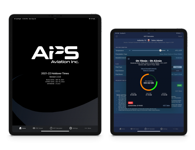 APS HOT app screenshots showing home page and calculator